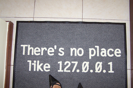 Welcome mat saying there\'s no place like 127.0.0.1