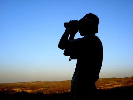 binoculars in use