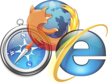 IE, Firefox, and Safari Logos