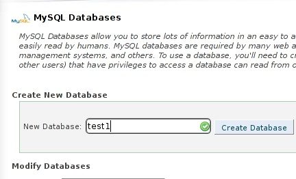 cPanel database creation