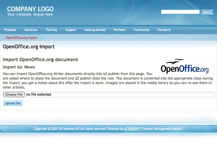 OpenOffice import in eZ publish