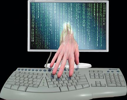 Hand sneaking through screen