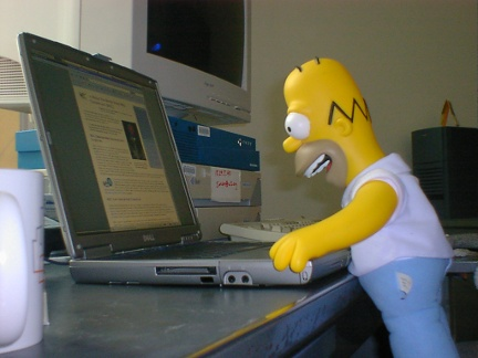 Homer staring at a big laptop