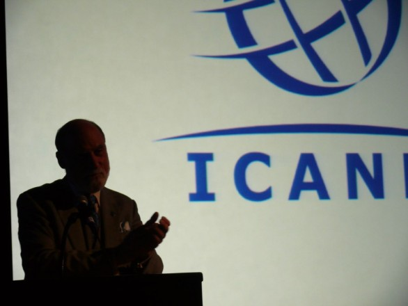 ICANN presenter in dark room