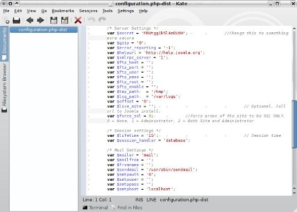 Joomla configuration file showing paths