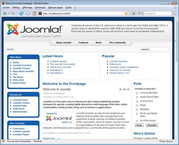 Joomla page with welcome message