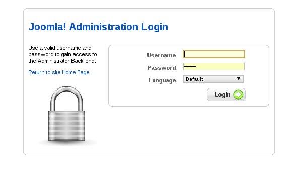 Joomla login screen