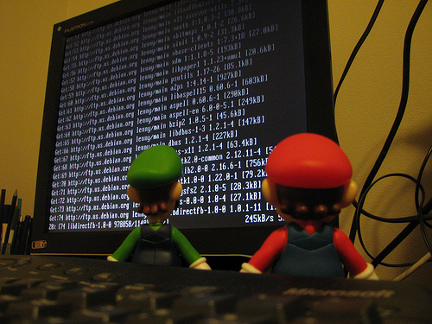 Mario and Luigi checking Linux logs