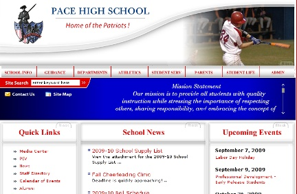 Pace High School website screenshot