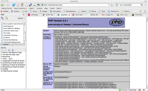 PHP running on a Mac