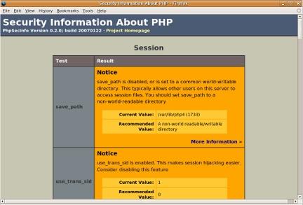 PHPSecInfo screenshot