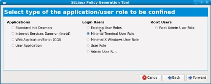 SELinux graphical policy configuration
