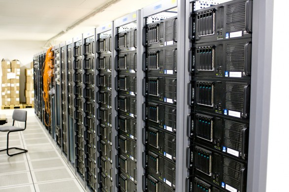 Room filled with rack-mounted servers