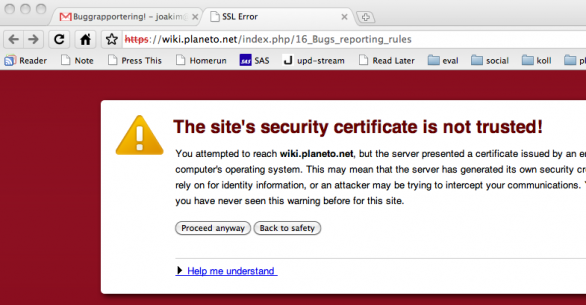 Untrusted site certificate