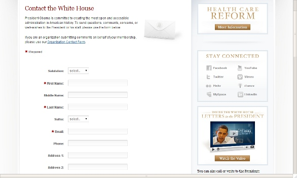 Whitehouse.gov contact form