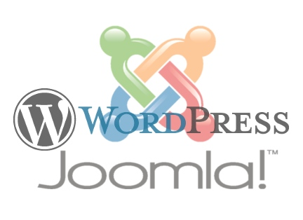 Joomla and WordPress logos