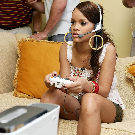 Rihanna playing Xbox