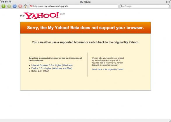 Yahoo's BETA browser detection