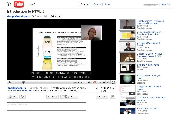 YouTube html5 video
