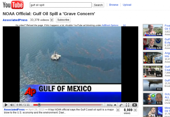 YouTube NOAA gulf oil spill